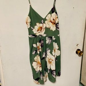 Green floral spaghetti strap dress